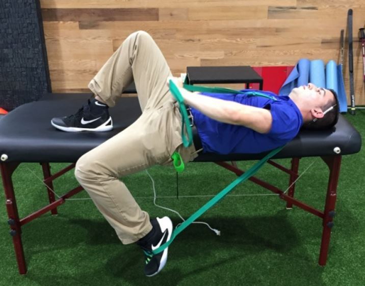 Performing the hip flexor stretch in this modified thomas position in another option.
